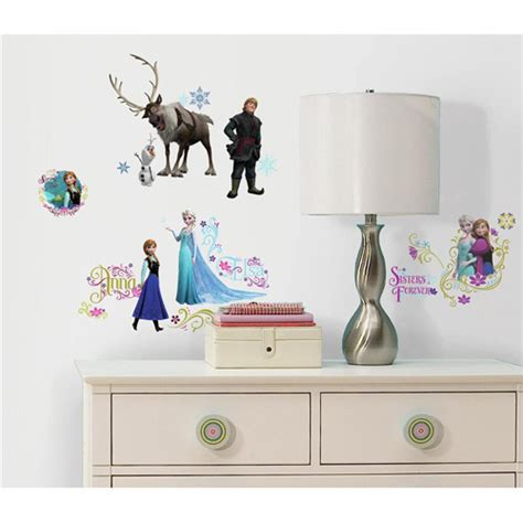 peel wall stickers frozen peel and stick wall decals walmart