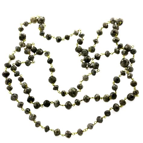 beaded chain for jewelry 52 13ct black 18kt solid gold beaded chain