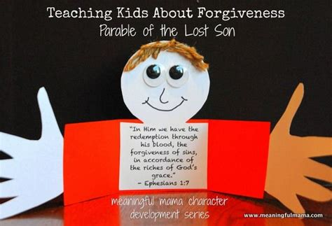 forgiveness bible crafts teaching forgiveness parable of the lost craft