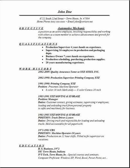 automotive mechanic resume occupational examples samples