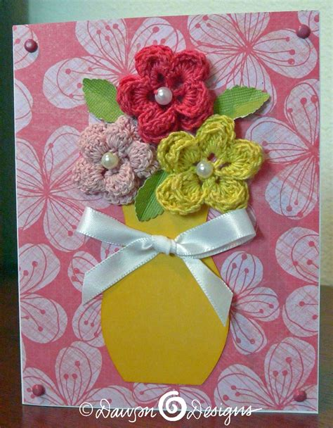 flowers for cards detailed cards made with punch ins and crocheted flowers