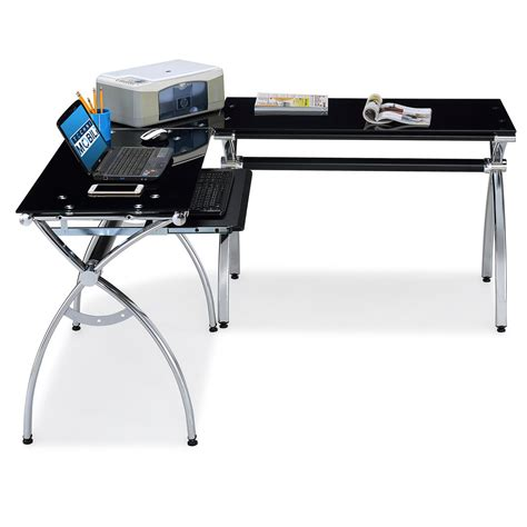 rta products techni mobili l shaped computer desk rta products techni mobili corner l shaped black glass