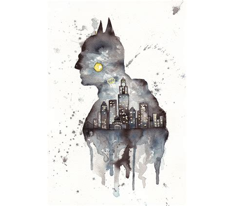 gotham batman fanart watercolor and ink painting original