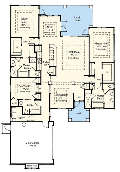 2 master suite house plans dual master suite energy saver 33093zr 1st floor master suite cad available den office