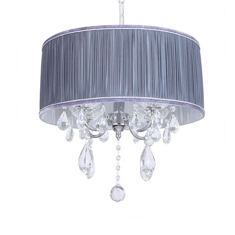 l shades with l amour 4 light chandelier in pleated shade grey from