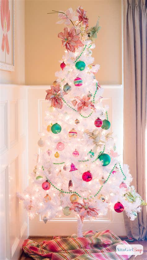 white ornament tree vintage white tree with shiny brite ornaments