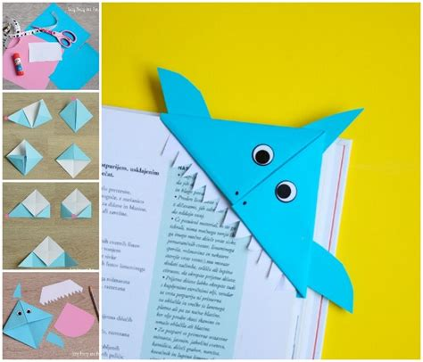 origami corner bookmark shark corner bookmark easy peasy and