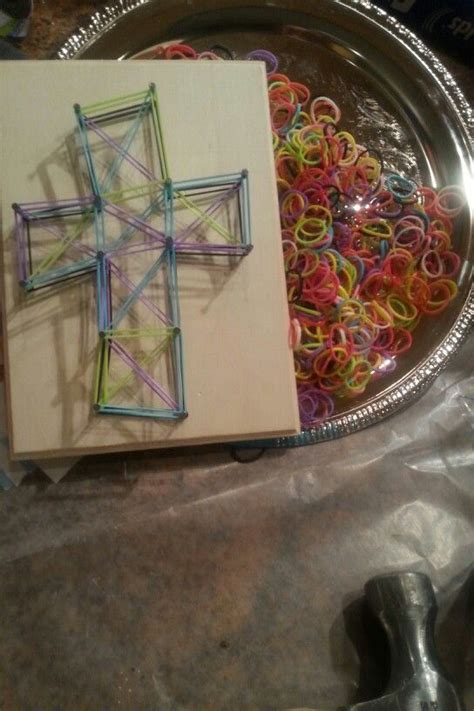 rubber sting ideas another way to make a quot string quot cross use small