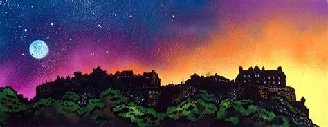 spray paint edinburgh painting prints of edinburgh castle at dusk scotland