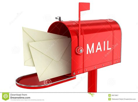 letters in an open mailbox stock illustration image