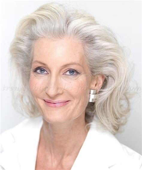 mid length grey hair shoulder length hairstyles over 50 wavy mid length
