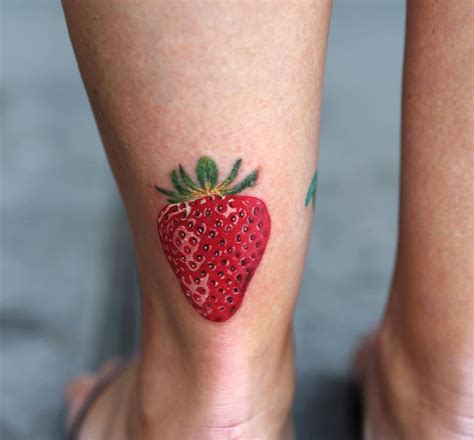 realistic strawberry ankle best tattoo design ideas