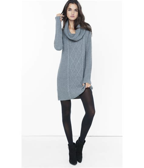 sweater knit dress express gray cowl neck cable knit sweater dress in gray lyst