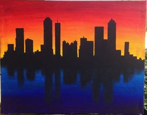 paint nite cities skyline silhouette at sunset acrylic canvas painting by