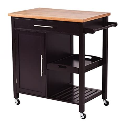 kitchen island rolling cart giantex rolling wood kitchen island trolley cart bamboo top storage cabinet utility