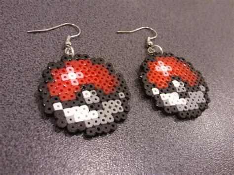 pokeball hama hama pixel pokeball earrings by metru on deviantart