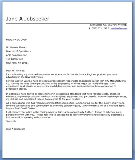 cover letter mechanical engineer sample resume downloads