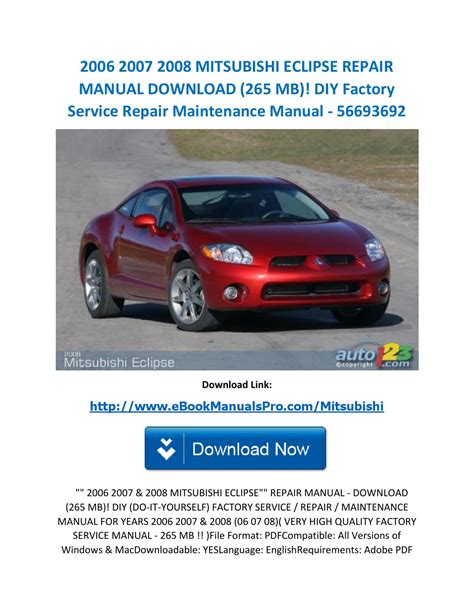 service manual chilton car manuals free download 2006 mitsubishi eclipse user handbook