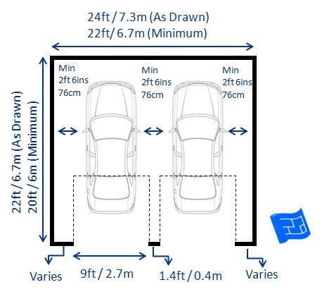 two car garage dimensions garage dimensions