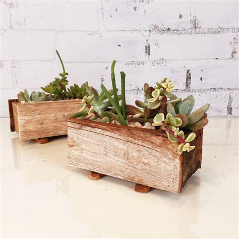 wooden succulent planter handmade reclaimed wood succulent planter box small planter