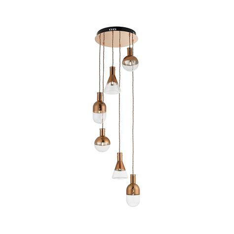 pendant ceiling light endon lighting giamatti 6co 6 light retro copper spiral