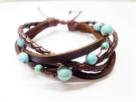 how to make boho jewelry turquoise brown leather bracelet