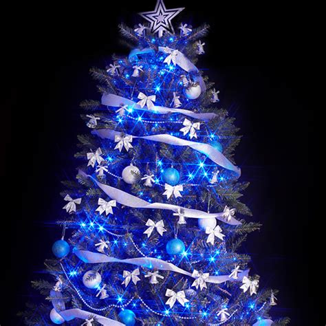 white tree with blue lights blue lights