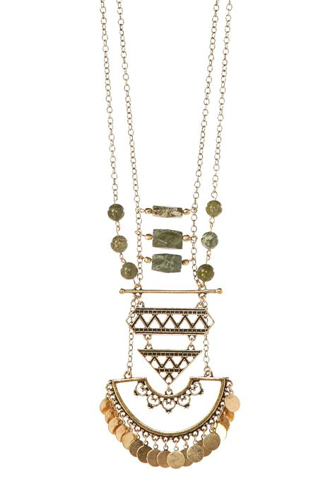 layered beaded necklaces layered beaded tribal pendant necklace cato fashions