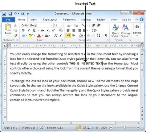 how to insert insert text in word 2010