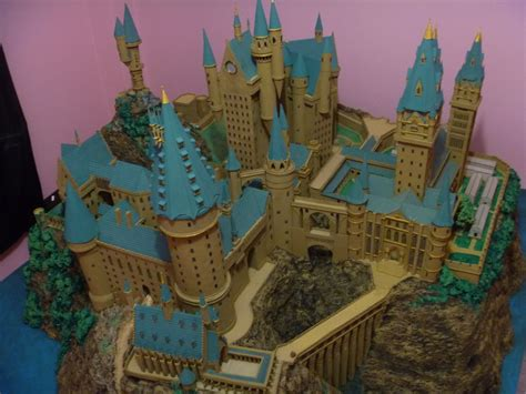 paper craft castle hogwarts castle paper model high view by wandmaker
