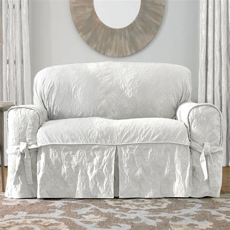 sure fit white sofa slipcover sure fit slipcovers matelass 233 damask 1 sofa