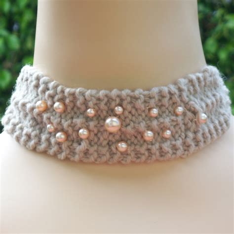 knit 2 pearl 2 knit 2 pearl 1 necklet choker by millyandnans