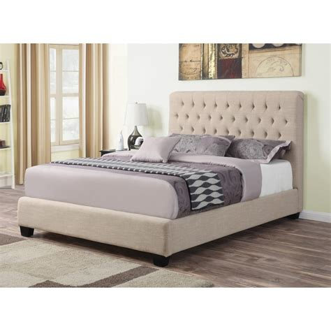 size upholstered bed upholstered size bed with tufted headboard oatmeal