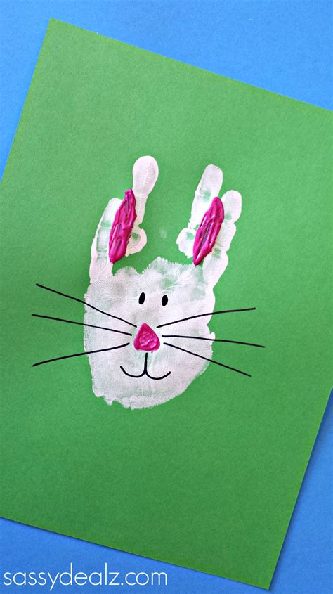 rabbit crafts for bunny rabbit handprint craft for easter idea