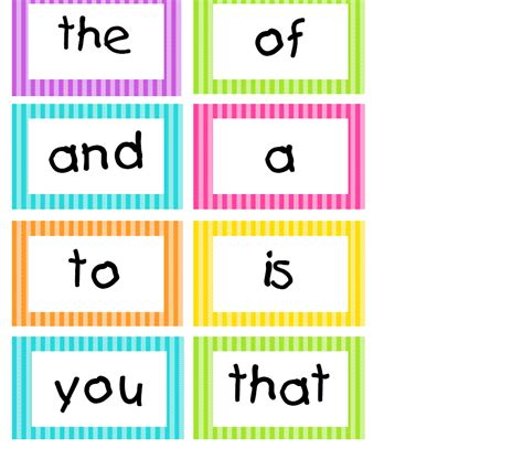 cards on word spotted in grade bright stripes word wall cards