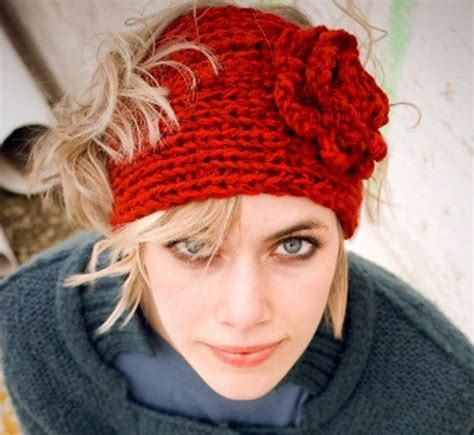 knit headband in the knitted headband with flower patterns a knitting
