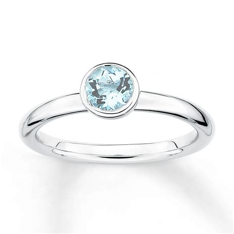 sterling silver stackable aquamarine ring sterling silver