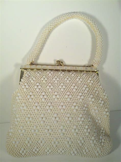 vintage beaded purse vintage retro beaded purse white faux pearls bag ebay