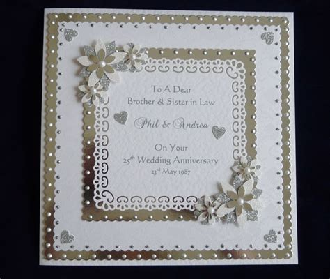 wedding anniversary cards to make personalised silver or 25th 60th wedding