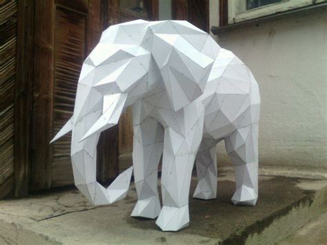 paper elephant craft animal paper model elephant free papercraft