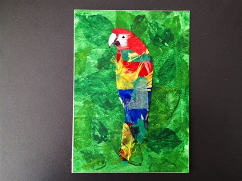 craft of colourful parrot in a leafy jungle greeting card bright