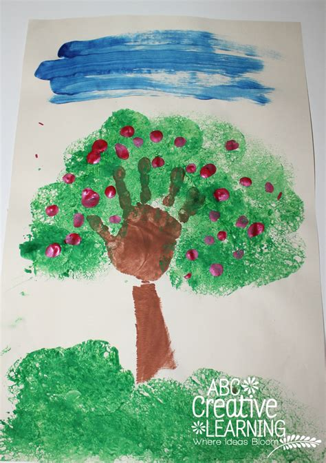 tree crafts for handprint apple tree craft