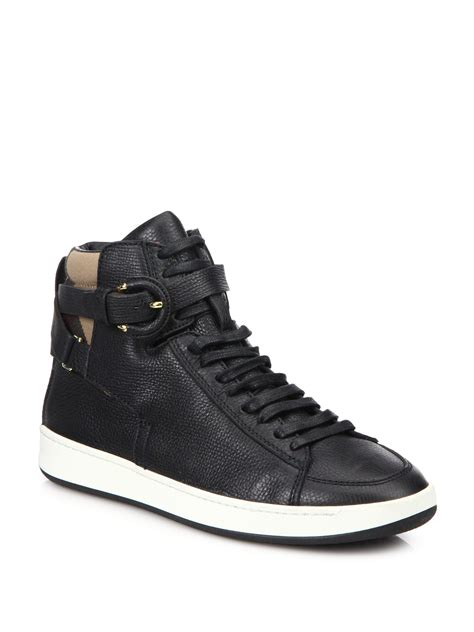 leather high top shoes for burberry folkington leather high top sneakers in black lyst