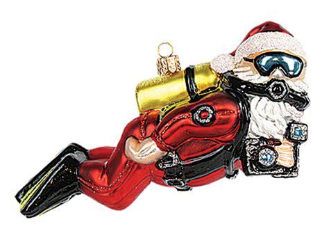 scuba diving ornaments scuba diver santa blown glass ornament