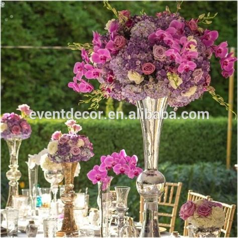 silver centerpieces silver vase and flower centerpiece glass trumpet vase for