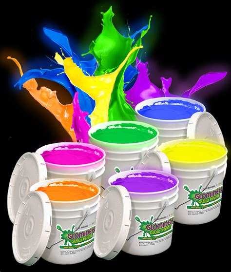 glow in the paint by the gallon glominex glow paint gallons assorted coolglow