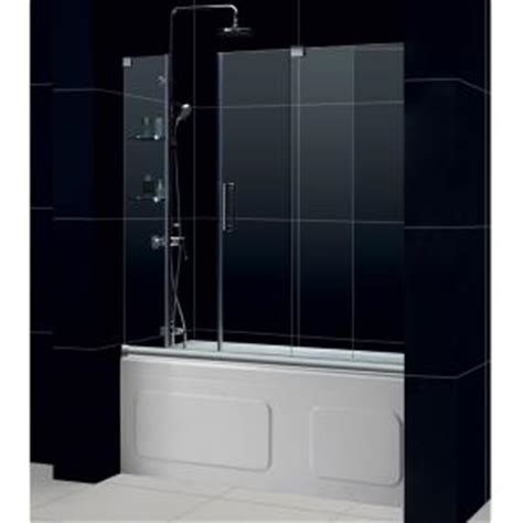 bathtub shower doors home depot dreamline mirage 60 in x 58 in frameless sliding tub