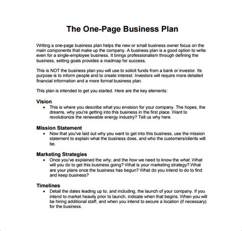 one page business plan example pdf template free download