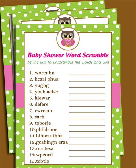 scrabble word scramble owl baby shower word scramble printable lil owl