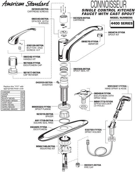 kitchen faucet parts diagram plumbingwarehouse american standard commercial faucet parts for model 4400